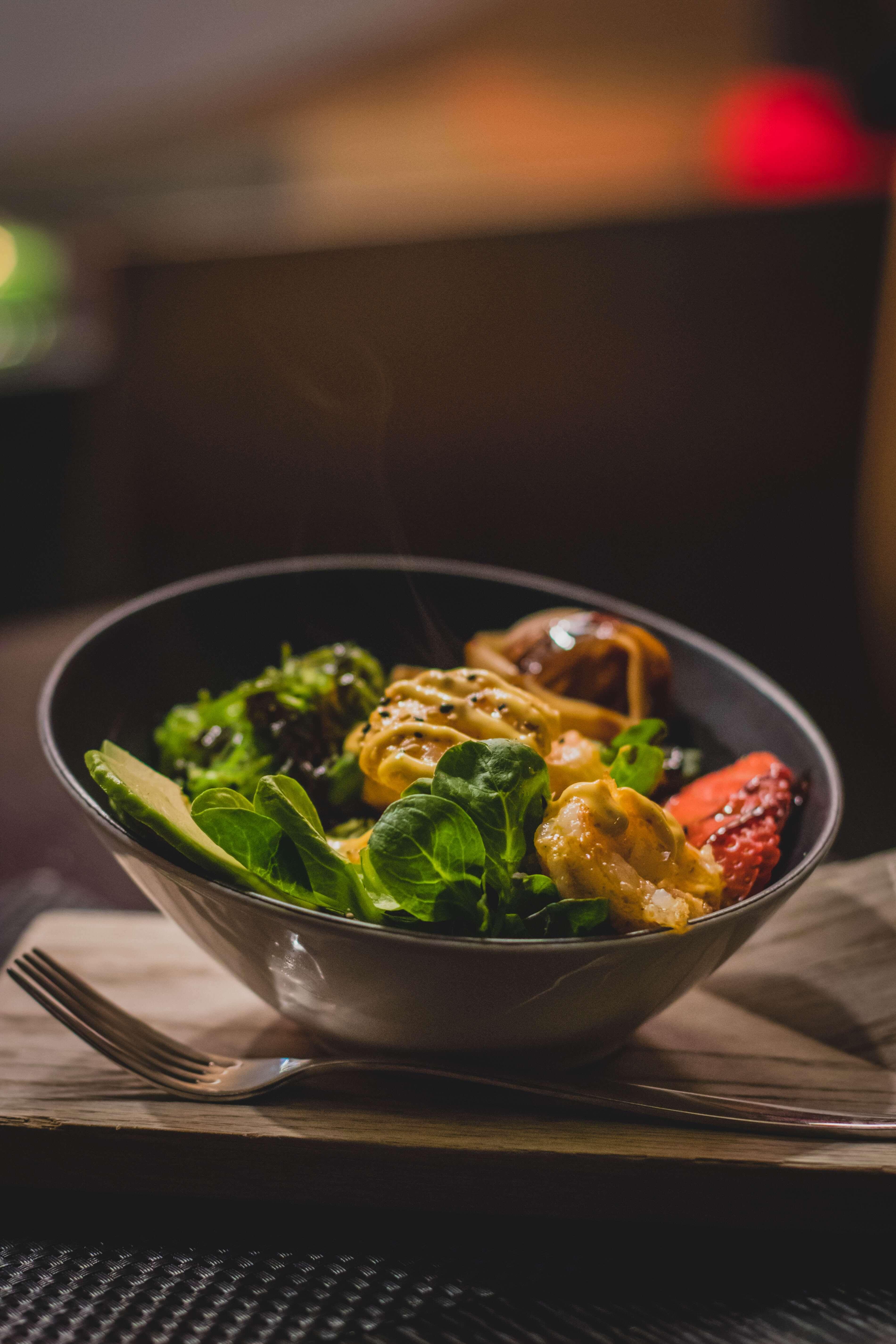 Seafood served in grey slanted bowl